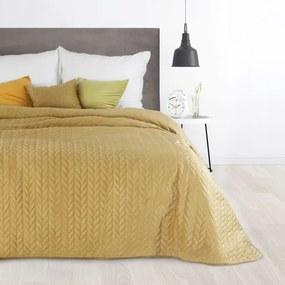 DomTextilu Luxusný velúrový prehoz na posteľ horčicovo žltej farby Šírka: 70 cm | Dĺžka: 160 cm 28405-154277