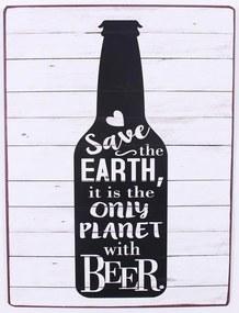 La finesse Plechová ceduľa Save the earth