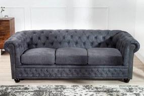 Trojsedačka Chesterfield Vintage sivá