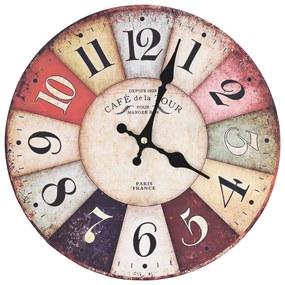 vidaXL Vintage nástenné hodiny 30 cm rôznofarebné