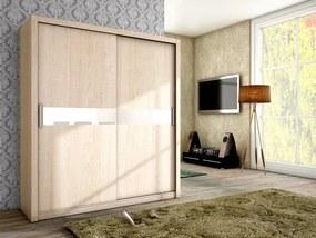 Moderná šatníková skriňa ADEL 180 sonoma + biele sklo