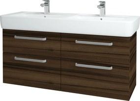 Dřevojas - Koupelnová skříň Q MAX SZZ4 130 - D06 Ořech / Úchytka T01 / D06 Ořech (132125A)