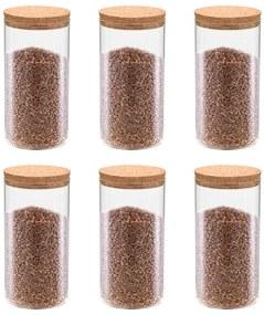 vidaXL Skladovacie sklenené poháre s korkovými viečkami 6 ks 1400 ml