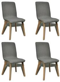 Jedálenské stoličky s dubovým rámom, 4 ks, látkové, tmavošedé