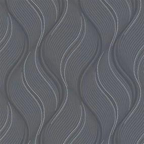 Vliesové tapety na stenu Bali 10022-15, rozmer 10,05 m x 0,53 m, vlnovky sivé, čierne, strieborné, Erismann