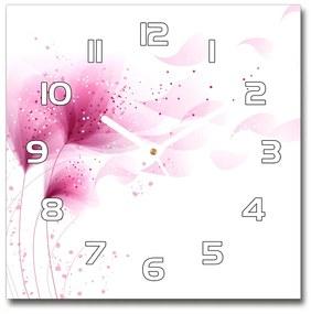 Sklenené hodiny štvorec Ružové kvety pl_zsk_30x30_f_59922852