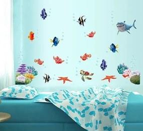 ZooYoo detská nálepka na stenu podmorský svet - rybičky zvitok 60 x 45 cm