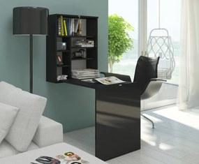 MEBLOCROSS Hide rozkladací písací stolík s regálom čierna