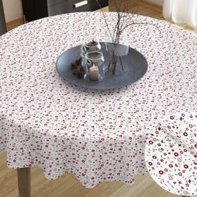 Goldea bavlnený obrus - vzor ružové maľované kvetinky - guľatý Ø 60 cm