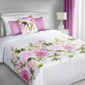 Prehoz na posteľ Ružové kvety 220cm x 240cm