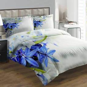 Obliečky Modré a biele kvety (Rozmer: 1x150/200 + 1x60/50)