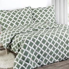 Goldea krepové posteľné obliečky - vzor 452 zelené 140 x 200 a 70 x 90 cm