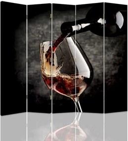 CARO Paraván - Red Wine | päťdielny | jednostranný 180x150 cm
