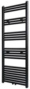vidaXL Čierny rebríkový radiátor na centrálne vykurovanie, rovný 500 x 1424 mm