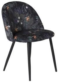 Velvet jedálenská stolička čierna/kvetinová