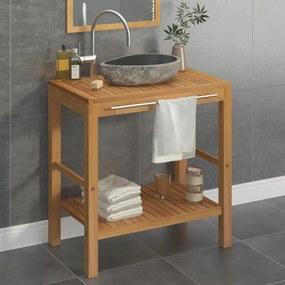 vidaXL Skrinka do kúpeľne a umývadlo, tíkové drevo a riečny kameň