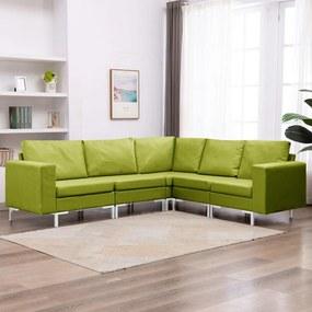 vidaXL 5-dielna sedacia súprava zelená látková