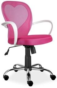 SIGNAL Daisy detská stolička na kolieskach s podrúčkami ružová