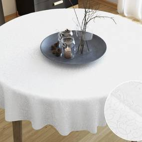 Goldea luxusný dekoračný obrus - vzor biela perokresba - guľatý Ø 290 cm