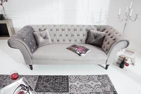 Dizajnová sedačka Rubby 230 cm / strieborno-sivá