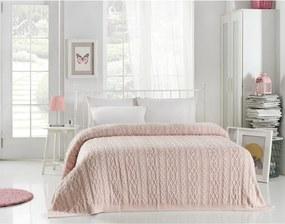 Svetloružová prikrývka cez posteľ Knit, 220 x 240 cm
