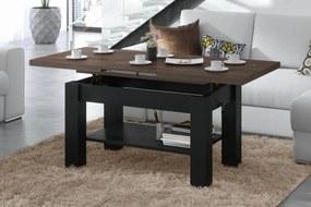 ASTORIA hnedý dub / čierny, konferenčný stolík, rozkladací, zdvíhací