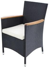 vidaXL Záhradné stoličky 2 ks s podložkami, polyratan, čierne