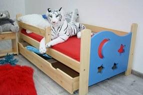 Detská posteľ SEVERYN + rošt ZADARMO, s úložným priestorom, borovica/modrá, 70x160cm