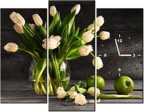 Tlačený obraz s hodinami Krémové tulipány 90x70cm ZP1392A_3C