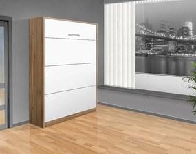 Nabytekmorava Sklápacia posteľ VS 1054 P - 200x120 cm A nosnost postele: štandardná nosnosť, farba lamina: orech lyon/biele dvere