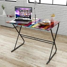 vidaXL Sklenený písací stôl s dúhovou potlačou