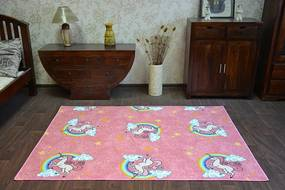 Detský koberec UNICORN JEDNOROŽEC ružový-Výpredaj - 200x300 cm