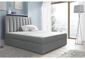 Kontinentálna posteľ Kaspis šedá 180 + topper zdarma