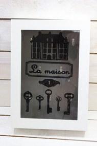 """Drevená krabica na kľúče """"LA MAISON"""" - biela (23x32x5,5 cm)"""