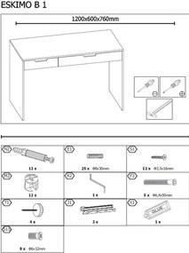 ESKIMO B-1 písací stôl biely