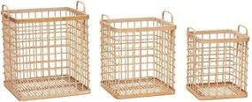 Sada 3 bambusových úložných košov Hübsch Bruno