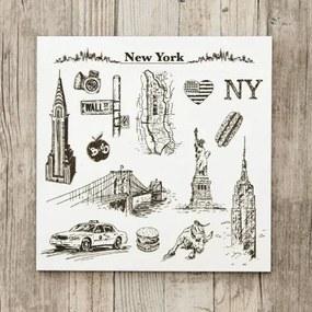 3D drevený gravírovaný obraz na stenu - New York 22x22cm, 33x33cm