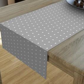 Goldea dekoračný behúň na stôl loneta - vzor biele srdiečka na sivom 20x120 cm