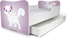 MAXMAX Detská posteľ so zásuvkou BIELA MAČIČKA + matrac ZADARMO