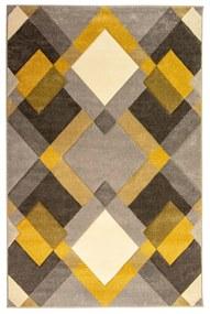 Sivo-žltý koberec Flair Rugs Nimbus Ochre, 120 × 170 cm