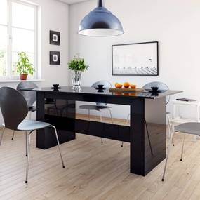 vidaXL Jedálenský stôl lesklý čierny 180x90x76 cm drevotrieska