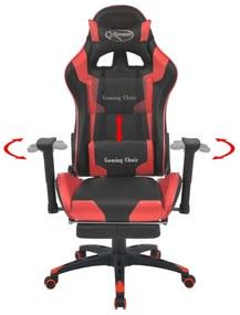 vidaXL Sklápacie kancelárske kreslo s podnožkou, pretekársky dizajn, červené