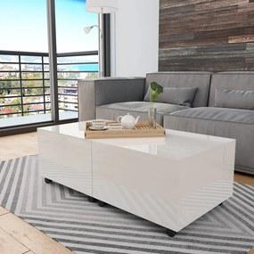 vidaXL Konferenčný stolík biely 120x60x35 cm vysoko-lesklý