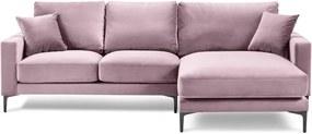 Ružová zamatová rohová pohovka Kooko Home Harmony, pravý roh