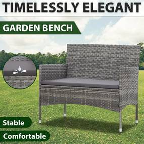 vidaXL Záhradná lavička 105 cm, polyratan, sivá