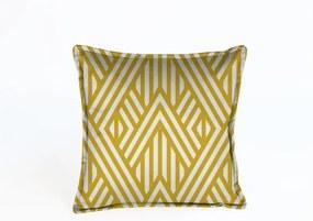 Žltá dekoratívna obliečka na vankúš Velvet Atelier Lines, 45 x 45 cm
