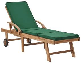 vidaXL Záhradné ležadlo s podložkou, tíkový masív, zelené