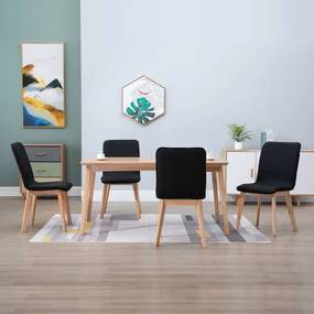 vidaXL Jedálenské stoličky 4 ks, čierne, látka a dubový masív