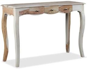 vidaXL Konzolový stolík s 3 zásuvkami, masívne sheeshamové drevo, 110x40x76 cm