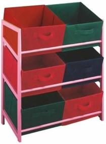Viacúčelová komoda s úložnými boxami z látky, ružový rám/farebné boxy, COLOR 96